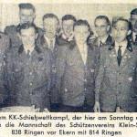 Auch 1958 fand ein Kleinkaliber-Wettkampf gegen Ekern in Ekern statt. In diesem Jahr ging Klein Scharrel als Sieger hervor