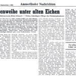 Die NWZ berichtete in Ihrer  Ausgabe vom 27.09.1960  von dieser Feierstunde.